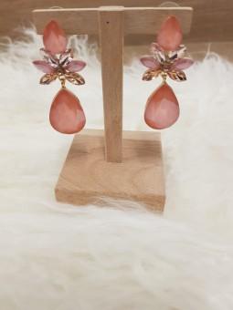 Pendientes rosa mini alas y...