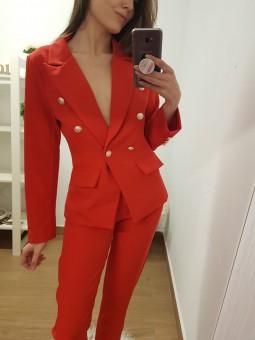 Chaqueta traje rojo botones...