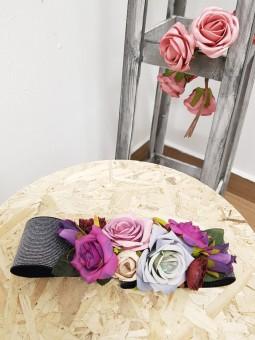 Cinturon elástico gris flores