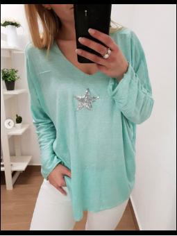 Suéter manga larga estrella...