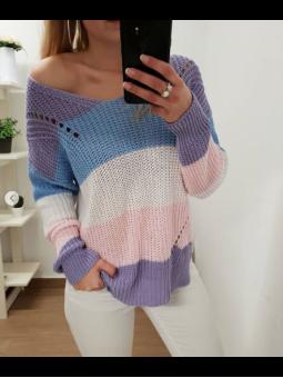 Suéter multicolor lila,...