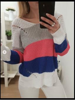 Suéter multicolor blanco,...