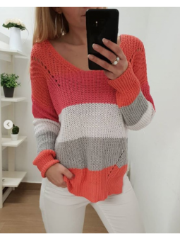 Suéter multicolor coral,...