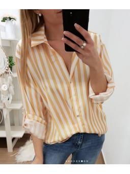 Camisa rayas blanca y mostaza