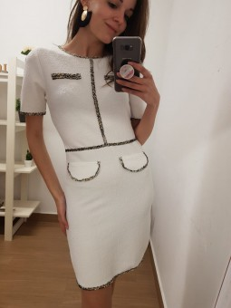 Vestido blanco bolsillos...