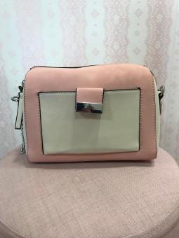 Bolso bicolor rosa palo