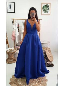 Vestido largo raso - azul...