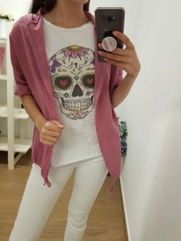Chaqueta rosa capucha //...