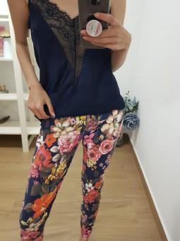 Pantalón navy estampado flores