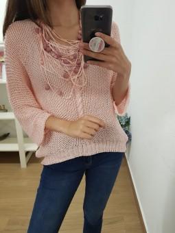 Conjunto suéter rosa tricot...