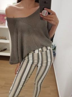 Pantalón franjas beige dos...