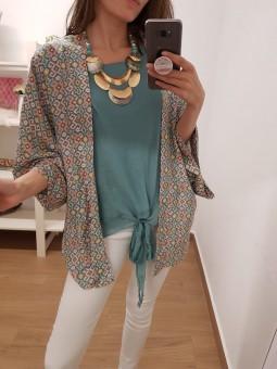 Kimono estampado azul //...