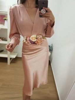 Falda midi raso rosa //...