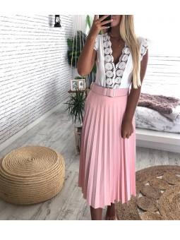 Falda plisada midi rosa