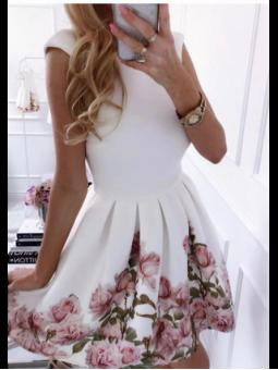 Vestido blanco flores rosa