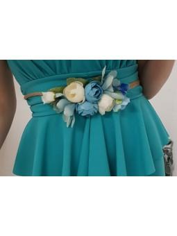 Cinturón cuerda flores azules