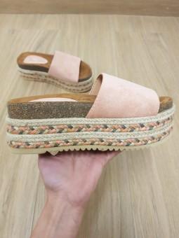 Sandalia rosa suela esparto...