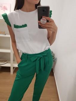 Camiseta blanca puntilla...