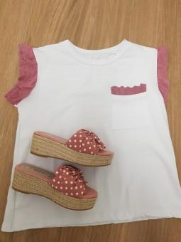 Sandalias lazo rosa lunares