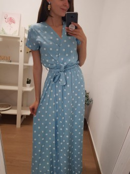 Vestido lunares azul bebé