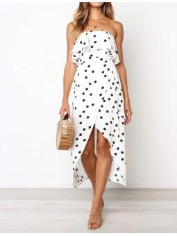 Vestido blanco lunares...