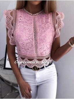 Blusa encaje rosa