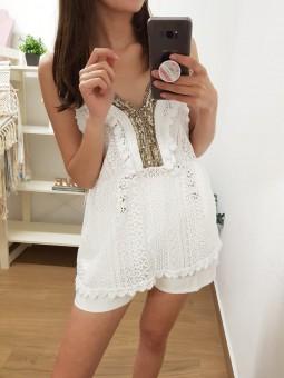 Blusa/vestido encaje blanco...