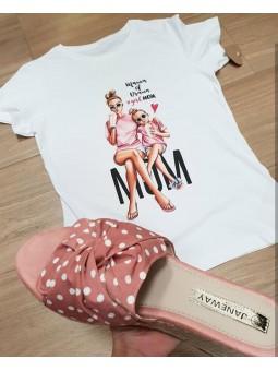 Camiseta MOM mamá y niña rosa
