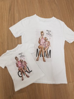 Camiseta MOM madre e hija rosa