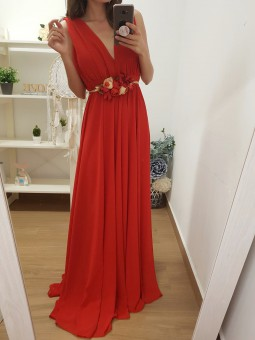 Vestido gasa rojo...