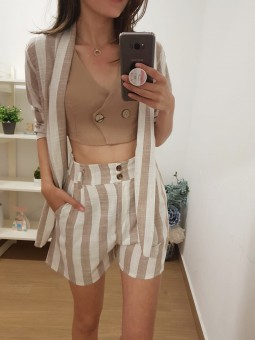 Pantalón lino franjas beige...