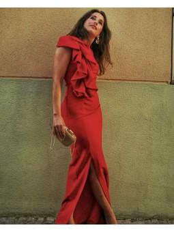 Vestido rojo largo volante...