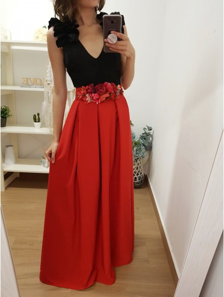 62399e44b Falda roja larga de fiesta pinzas