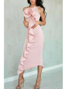 Vestido midi rosa claro...