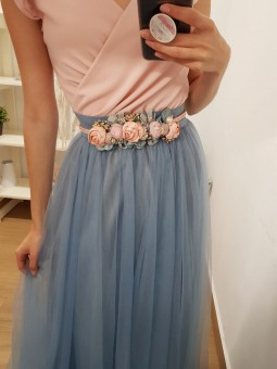 Cinturón cordón rosa flores
