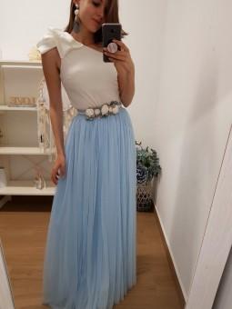 Falda tul larga azul bebé...