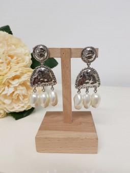 Pendientes India plata perlas