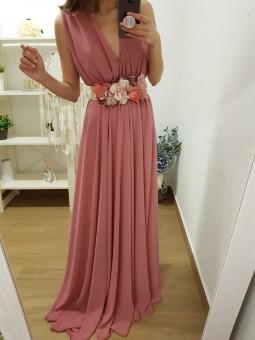 Vestido gasa rosa sólido //...