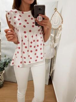Blusa blanca topos rosa //...