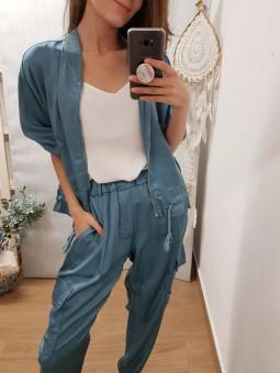 Pantalón efecto raso azulón...