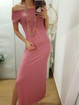 Conjunto vestido largo rosa...