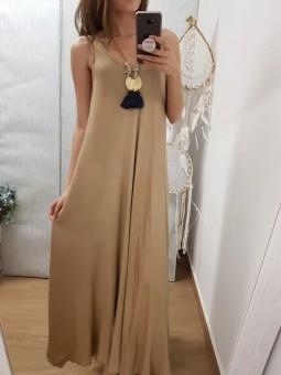 Vestido largo vuelo camel