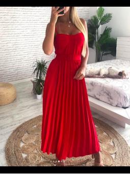 Vestido plisado rojo (con...