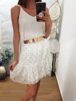 Falda blanca volante...
