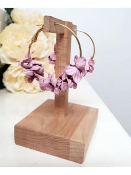 Aros con mini flores malva