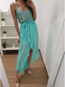 Vestido night color aguamarina