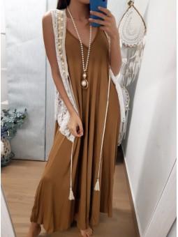 Vestido largo vuelo camel...