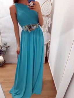 Vestido asimétrico turquesa...