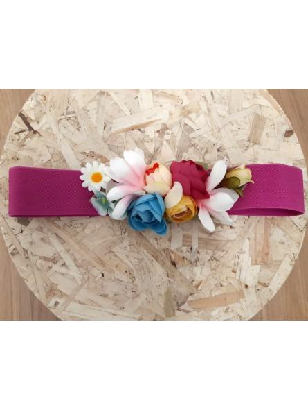 nuevo estilo b2320 38fe6 Cinturón elástico fucsia flores combinadas