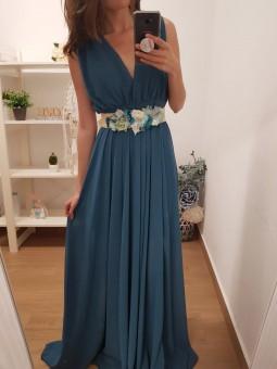 Vestido gasa azul petróleo
